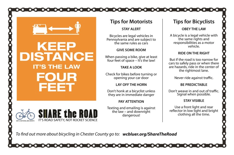 Share the Road Motorist and Bicyclist Tips Flyer