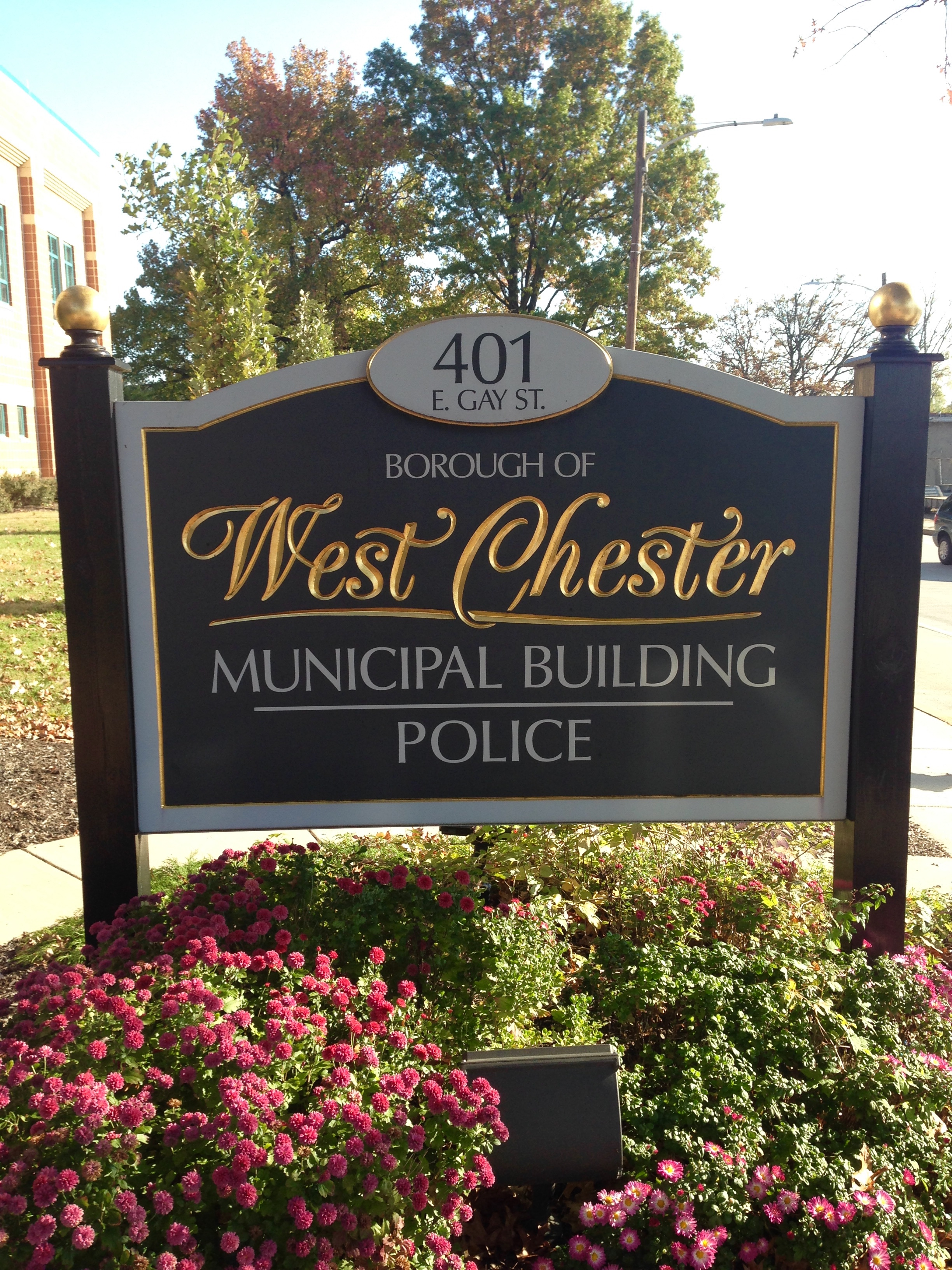 West Chester Municipal Building - Police Sign